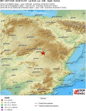 Political Map Of Spain 2017.Earthquake Magnitude 3 7 Spain 2017 December 20 04 28 10 Utc